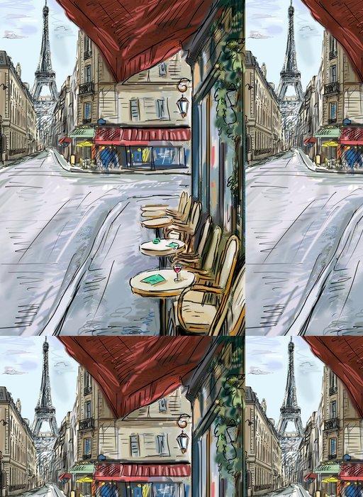 Tapeta Pixerstick Ulice v paříži - ilustrace - Evropská města