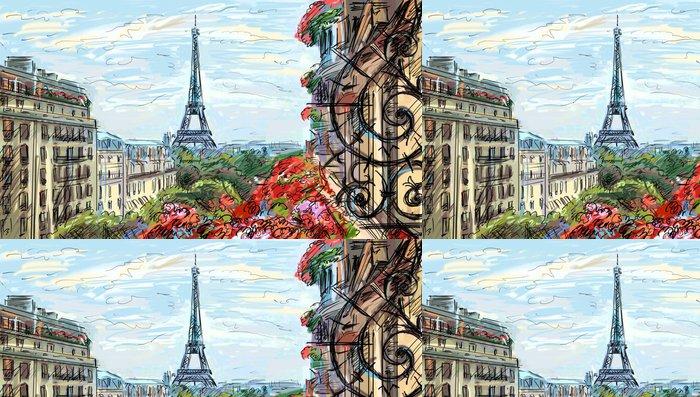 Vinylová Tapeta Ulice v paříži - ilustrace - Témata