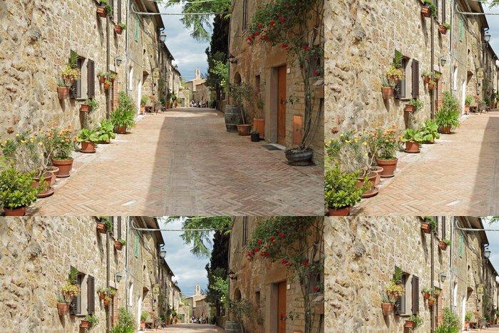 Tapeta Pixerstick Ulice vydlážděná cihla ve staré italské Borgo Sovana v Toskánsku, - Témata