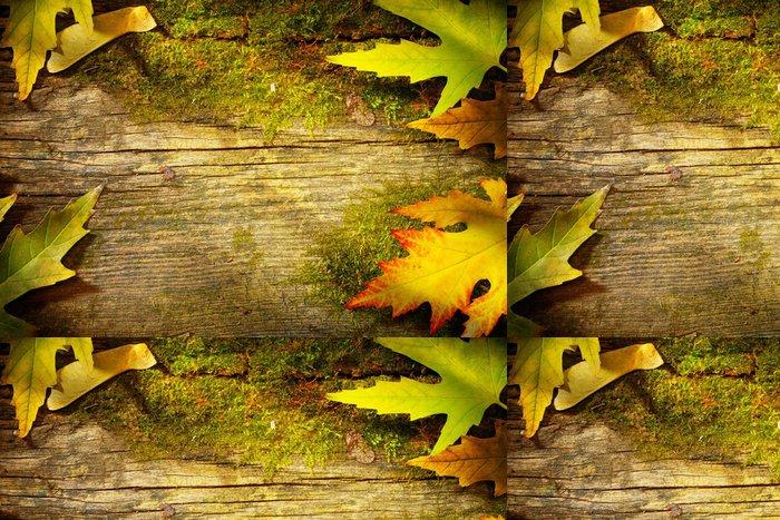 Tapeta Pixerstick Umění podzimní listí na staré dřevěné pozadí - Pozadí