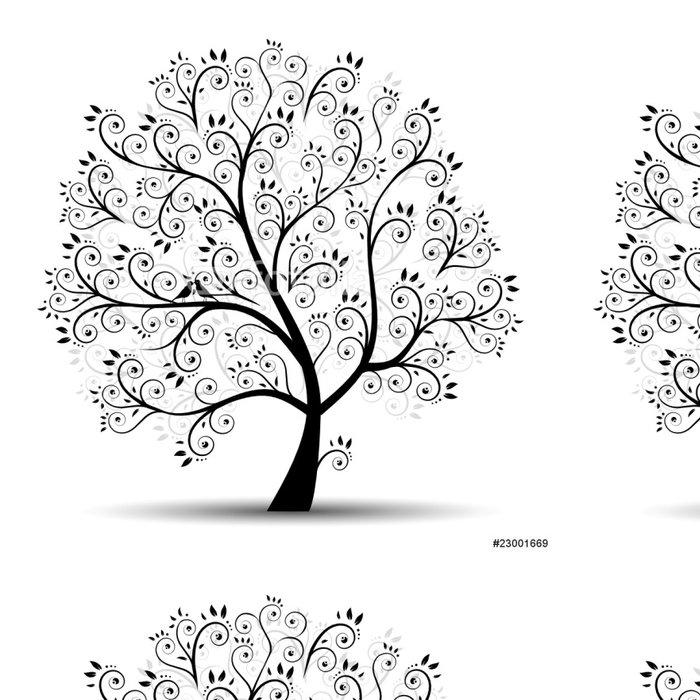 Tapeta Pixerstick Umění strom krásné, černá silueta - Nálepka na stěny