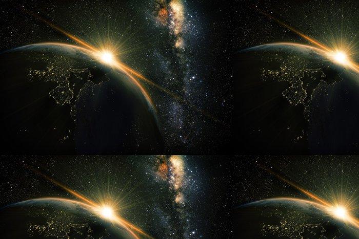 Tapeta Pixerstick Unrise pohled na Zemi z vesmíru se galaxie Mléčné dráhy - Meziplanetární prostor
