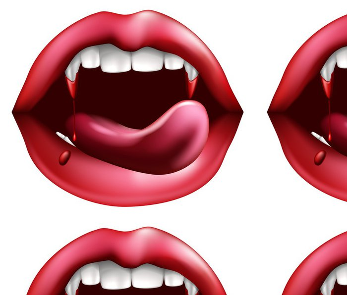 Vinylová Tapeta Upír olizovat krev z ostrých zubů - Mezinárodní svátky