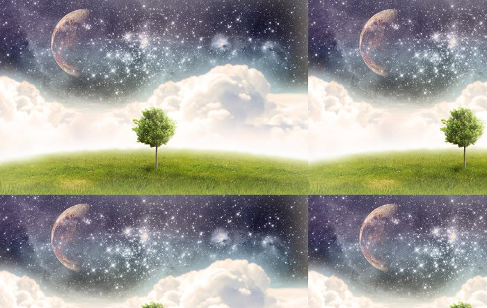 Tapeta Pixerstick Úplněk v rámci jarních polí - Meziplanetární prostor