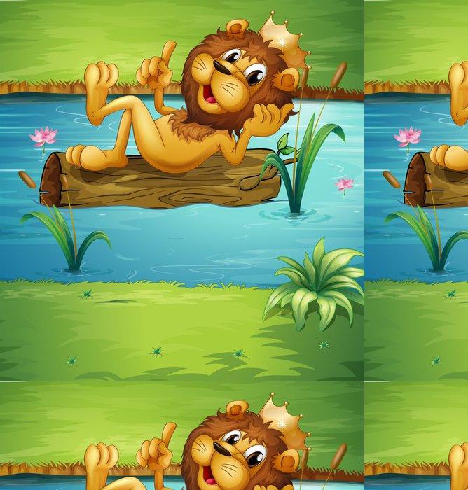Tapeta Pixerstick Usměvavá lev na suché dřevo - Pozadí