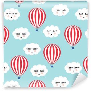 Tapeta Winylowa Uśmiechnięty śpiących chmury i balonów na ogrzane powietrze szwu. Cute baby shower tło wektor. Styl rysowania dla dzieci.