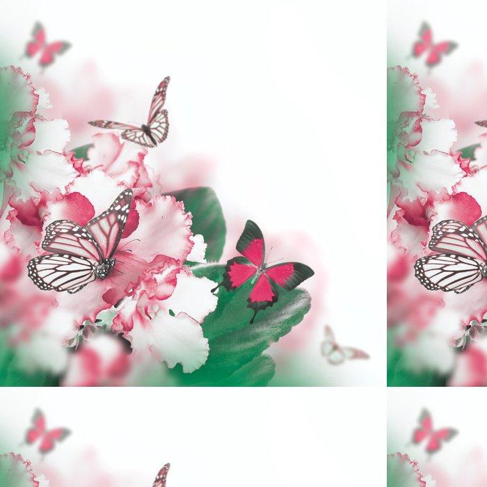 Tapeta Pixerstick Úžasná kytice jarních fialek a motýl - Květiny