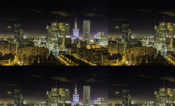 Tapeta Pixerstick V centru města v noci Varšava - Témata