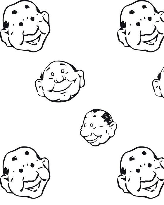Tapeta Pixerstick V jednoduchých tvář náčrtky černá a bílá - Štěstí