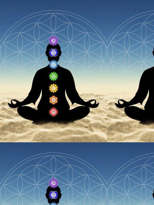 Tapeta Pixerstick V meditaci mit Chakren über den Wolken - Náboženství