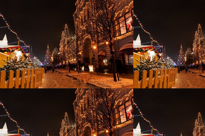 Tapeta Pixerstick Vánoce v Moskvě, Rusko v noci - Asijská města