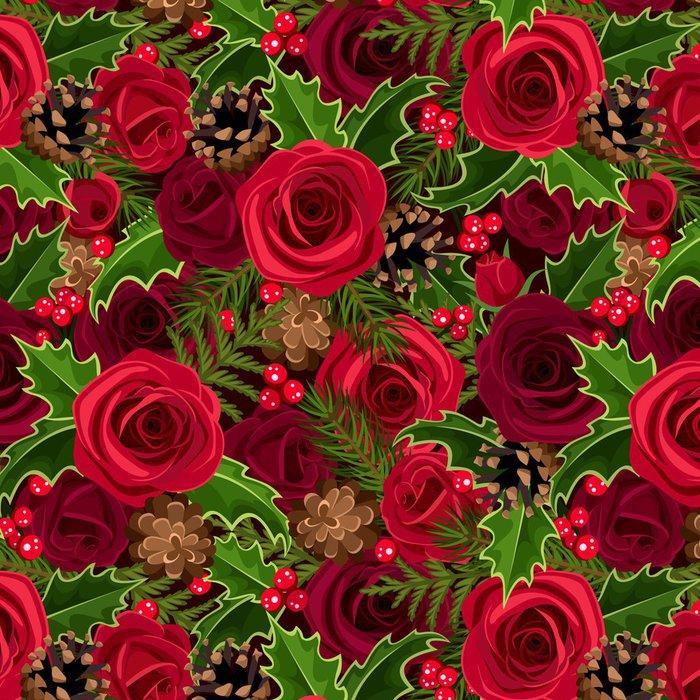 Tapeta Pixerstick Vánoční bezešvé pozadí s růží a cesmína. Vector. - Mezinárodní svátky
