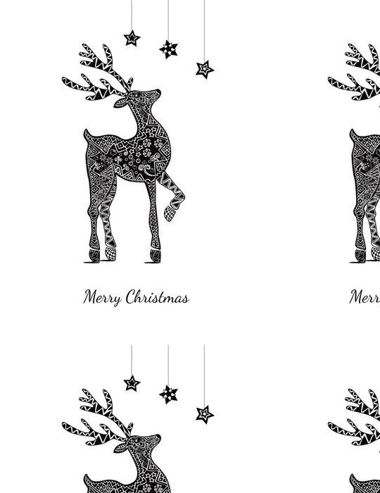 Tapeta Pixerstick Vánoční blahopřání s jeleny na bílé - Mezinárodní svátky