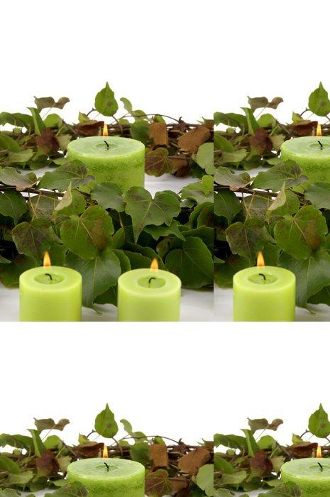 Tapeta Pixerstick Vánoční dekorace, tři svíčky a listí - Životní styl, péče o tělo a krása