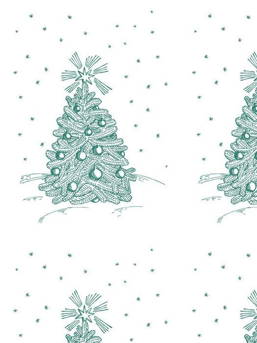 Tapeta Pixerstick Vánoční jedle na bílém pozadí - Mezinárodní svátky