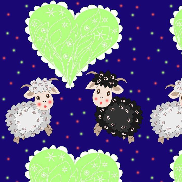 Tapeta Pixerstick Vánoční karta s roztomilou ovcí a srdce na fialové pozadí - Osud