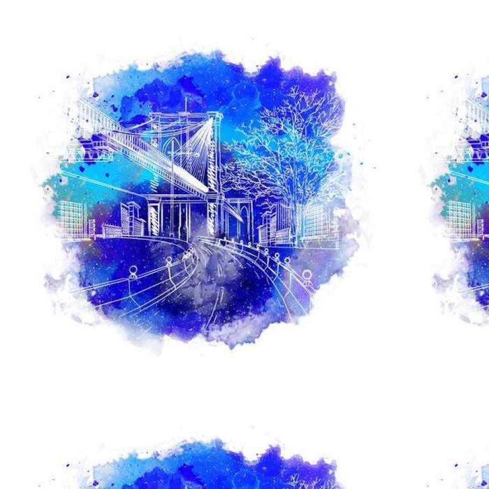 Tapeta Pixerstick Vánoční pozdrav. Vintage skica městské krajiny. Staré město Praha. vektorové ilustrace - Stavby a architektura