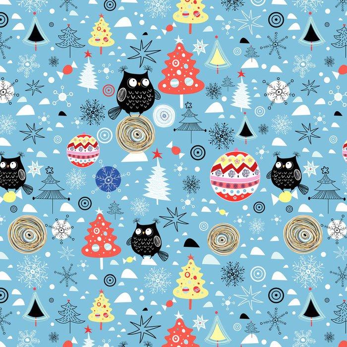 Vinylová Tapeta Vánoční textury sovy stromů a plesů - Témata