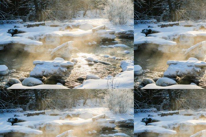 Tapeta Pixerstick Vaření v páře River na zimní den Cold - Roční období