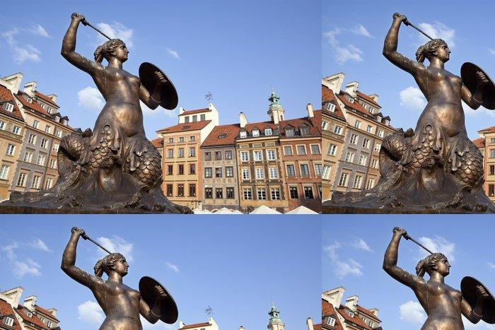 Tapeta Pixerstick Varšava je mořská panna v náměstí. Polsko. - Imaginární zvířata