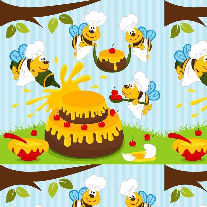 Tapeta Pixerstick Včely kuchaři připravit dort - vektorové ilustrace - Slavnosti