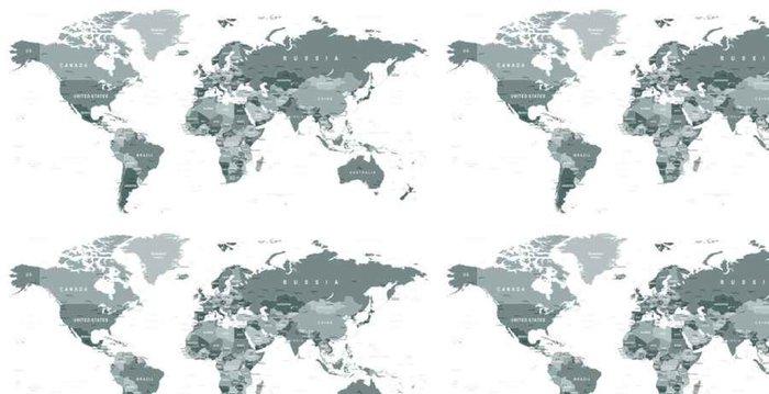 Vinylová Tapeta Ve stupních šedi World Map - hranice, země a města - illustration______Highly detailní šedá vektorové ilustrace světové mapy. - Cestování