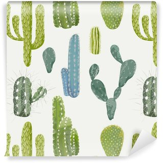 Vinylová Tapeta Vector Cactus pozadí. Bezešvé vzor. Exotické rostliny. Obratník
