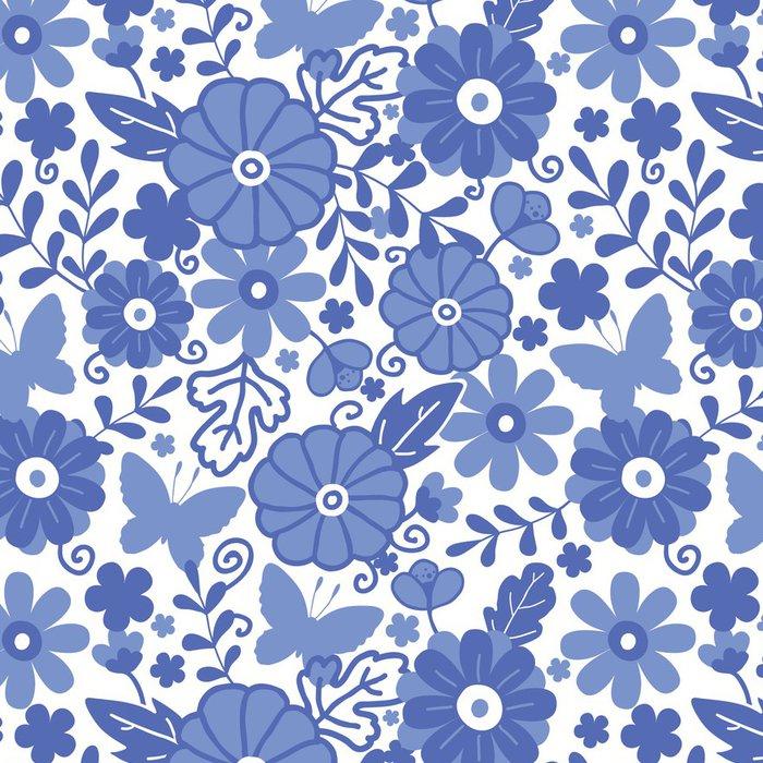Tapeta Pixerstick Vector Delft modré Holandské květiny elegantní bezešvé vzor - Květiny
