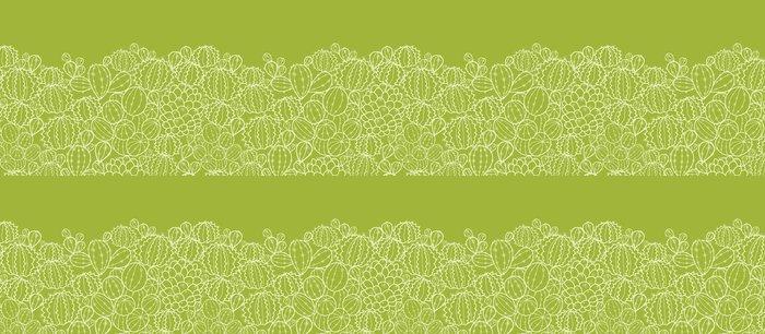 Tapeta Pixerstick Vector kaktus rostliny horizontální bezešvé vzor ornament - Ekologie