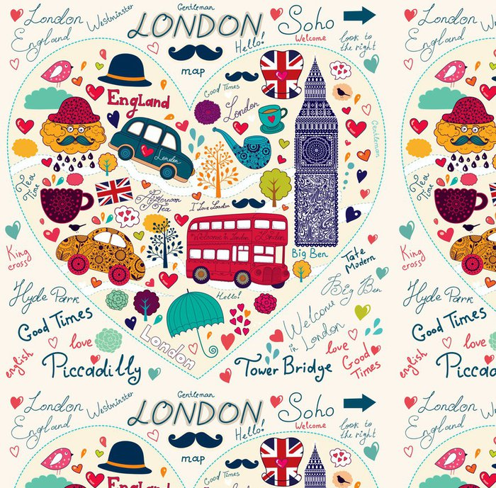 Tapeta Pixerstick Vector sada symbolů Londýna a památek - Evropská města