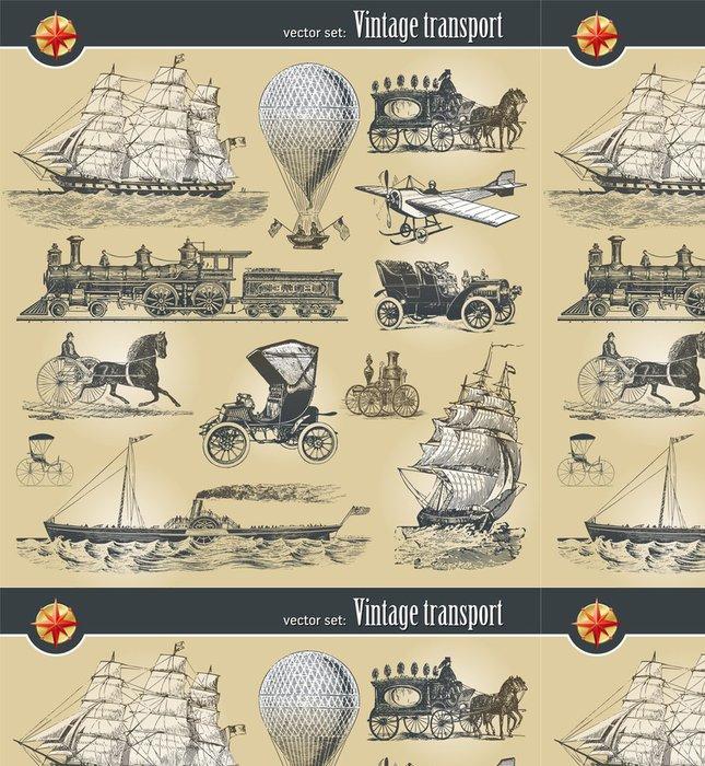 Vinylová Tapeta Vector set of vintage historické dopravy - Na cestě