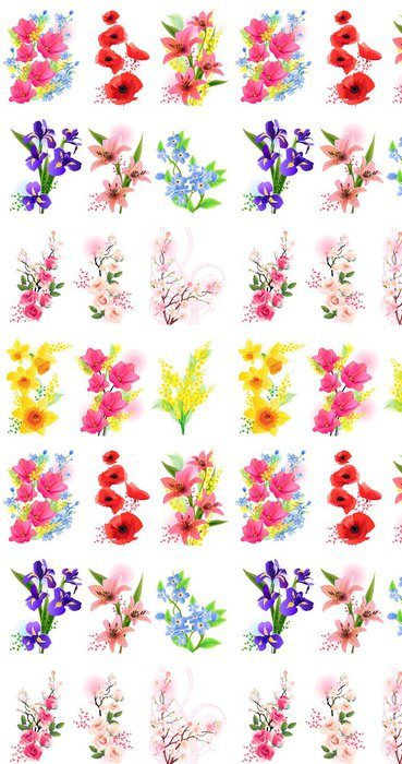 Tapeta Pixerstick Vector set různých realistických květin - Květiny