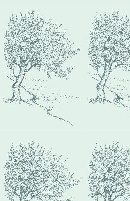 Tapeta Pixerstick Vector sketch kvetoucí jarní strom na břehu řeky - Roční období