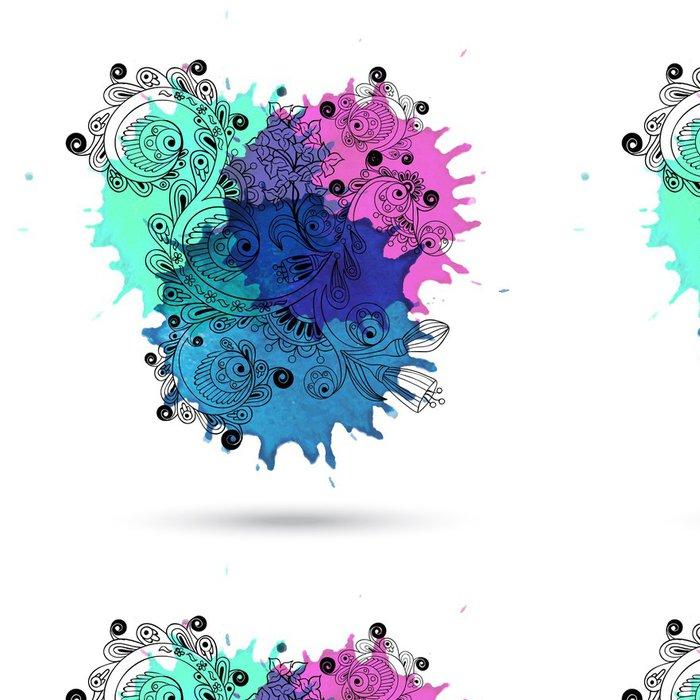 Tapeta Pixerstick Vektor akvarel abstraktní konstrukce s doodle - Pozadí