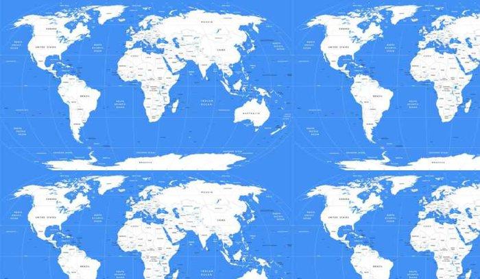 Tapeta Pixerstick Vektor bílá mapa světa | Detailní velká politická mapa světa - Cestování