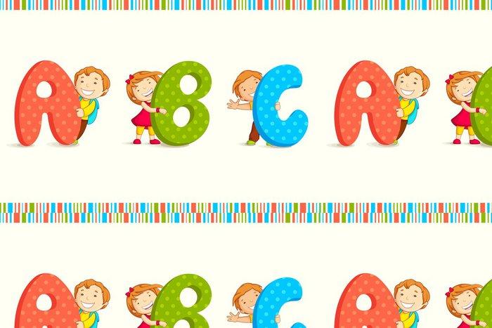 Tapeta Pixerstick Vektor, ilustrace, děti, vykukující behing ABC - Témata