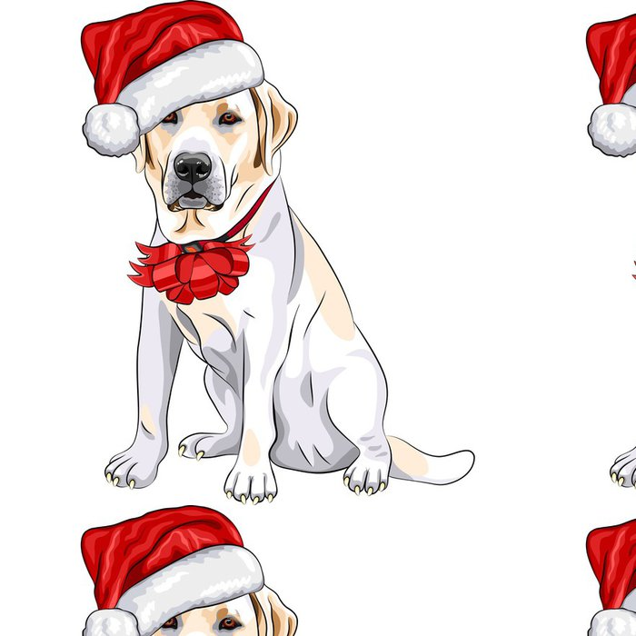 Vinylová Tapeta Vektor pes labrador v klobouku Santa Claus s vánoční lukem - Nálepka na stěny