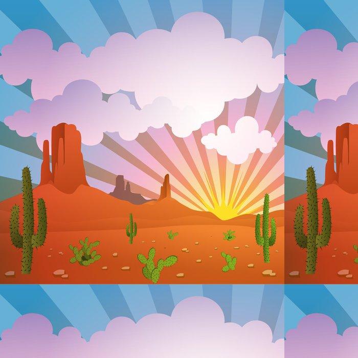 Tapeta Pixerstick Vektor Pouštní krajina s horami a Cactus - Pouště