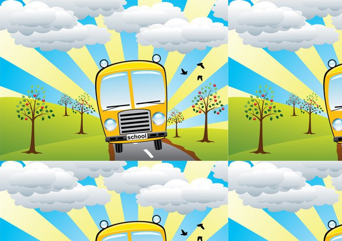 Tapeta Pixerstick Vektor školní autobus a retro krajina -