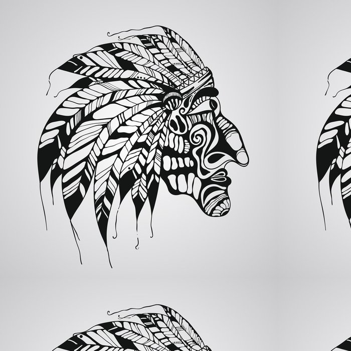 Tapeta Pixerstick Vektor tetování, rodilý Američan indiánský náčelník - Části těla