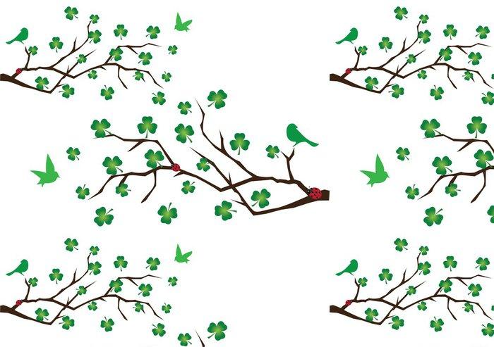 Tapeta Pixerstick Vektor větve s jetele a zelené ptáků - Nálepka na stěny