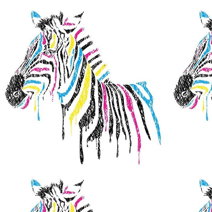 Vinylová Tapeta Vektor zebra s barevnými pruhy, skica styl - Nálepka na stěny