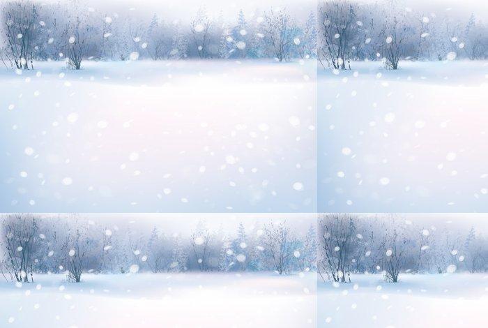 Tapeta Pixerstick Vektor zimní scény s lesním pozadí. - Roční období