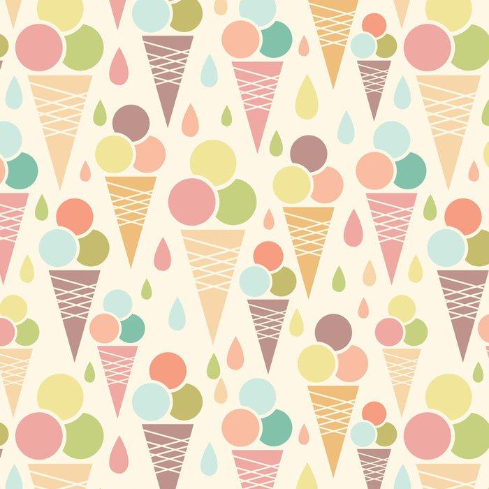 Tapeta Pixerstick Vektor zmrzlinové kornouty bezešvé podtisk s - Sladkosti a dezerty