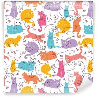 Vinylová Tapeta Vektorové Barevné Kočky bezešvé vzor na pozadí. Cute, ruční