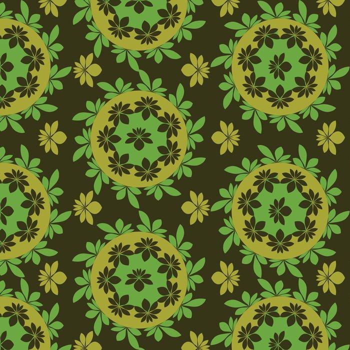 Tapeta Pixerstick Vektorové bezešvé květinový vzor zelená - Pozadí