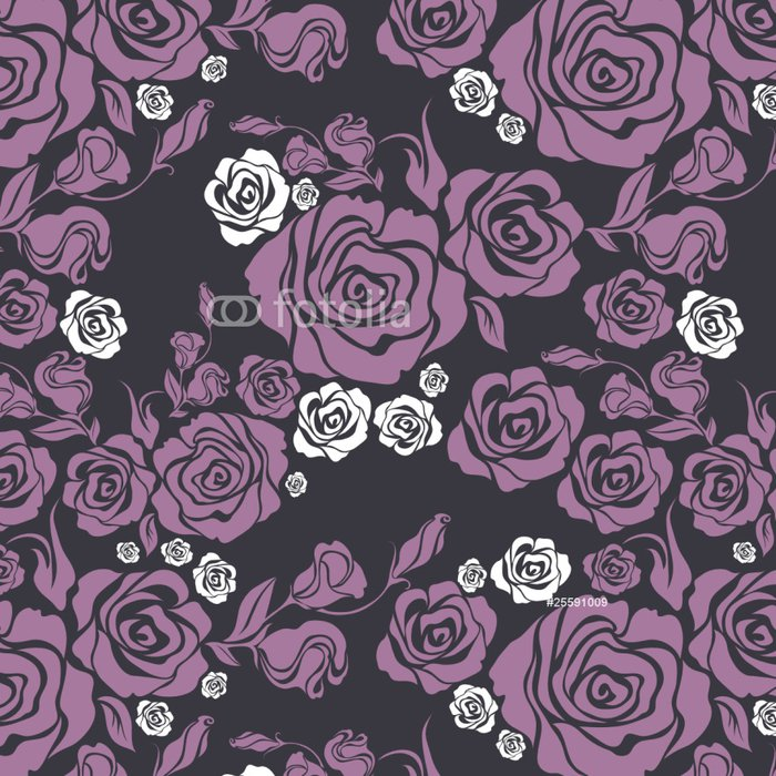 Vinylová Tapeta Vektorové bezešvé vinobraní květ růže vzor - Pozadí