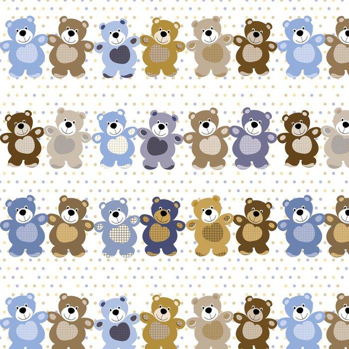 Tapeta Pixerstick Vektorové bezešvé vzor medvěd hračka medvídek - Do chlapeckého pokoje