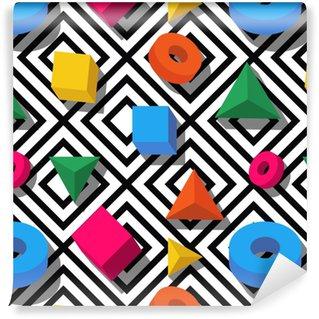 Vinylová Tapeta Vektorové bezproblémové vzorek. 3d stylizované vícebarevné geometrické tvary na černém a bílém pozadí. design pro módní textilní tisk, balicí papír, webové zázemí, balíček.
