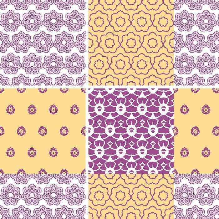 Tapeta Pixerstick Vektorové čtyři abstraktní fialové a zlaté orientální motivy bezešvé - Pozadí